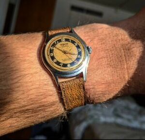Poor Man's Omega Vintage Bullseye Dial Teriam Watch lovely Patina unique SS case