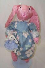 Wangs International Pink Satin Stuffed Bunny Rabbit Doll Blue Floral Dress New