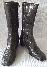 Vintage Chanel Python Snakeskin Boots Size 9 B