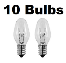 Box of 10 Nightlight Bulbs 15C7, Clear, 15 Watt, 120 Volt, E12 Candelabra Base