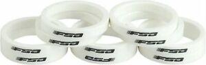 """New FSA Bike Bicycle Headset Spacers w/ logo - 1-1/8"""" x 5mm - 10 Pack - White"""