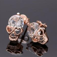 Gothic Style Day Of The Dead Jewelry Zircon Skull Stud Earrings Crystal Hearts