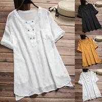 Women Vintage Short Sleeve Cotton Linen Button Casual Loose T-Shirt Blouse DZ