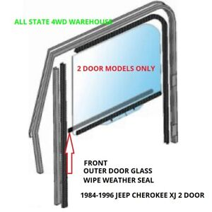 Window Sweep Outer Front Door, Set of 2 for 84-96 Jeep Cherokee Wagon XJ- 2 DOOR