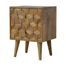 Cube Carved Bedside with 2 Drawers Solid Wood Nordic Style