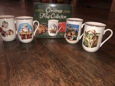 Norman Rockwell Museum Mug Collection 1987 Christmas Theme Set of 4