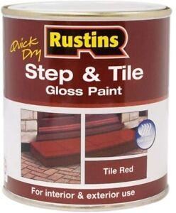 RUSTINS 250ML STEP & TILE RED PAINT GLOSS FINISH INDOOR OUTDOOR FLOOR NONSLIP