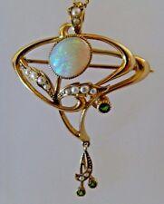 Periodo edoardiano Art Nouveau 15 KT Oro Opale & Granato Demantoide Seme Perla Ciondolo Broo