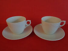 (2) Royal Copenhagen WHITE FLUTED HALF LACE Coffee CUPS & SAUCERS Denmark
