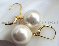 AA+ Huge 14mm White South Sea Shell Pearl Round 18K Gold plated Dangle Earrings