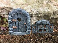 New Fairy Door +  Fairy Window Set  . Secret Garden Elf/ Pixie Door
