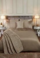 Mink Gold Quilted Crushed Velvet Sequin Detail Duvet Cover Set Bedding Range