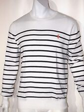 Polo Ralph Lauren striped pima light weight sweater size large color white black