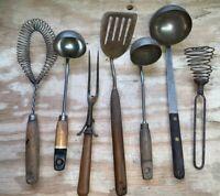 Lot Of 7 Vintage Serving Utensils - ANTLER - Mixed Lot