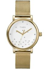 NEW-TIMEX GOLD TONE S/STEEL FINE MESH BAND+WHITE,CRYSTAL DIAL WATCH-T2N986+TAG