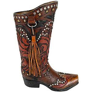 Urbalabs Western Cowboy Boot Brown Tassel Flower Vase Vase Distressed Decorative