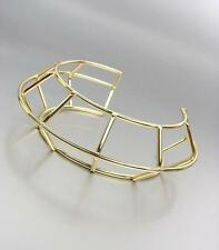 UNIQUE Artisanal Gold Metal Round Ribbed Cage Wire Sculpture Cuff Bracelet