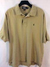 Polo Ralph Lauren Men's XL Short Sleeve Polo Rugby Shirt Tan W/ Black Pony