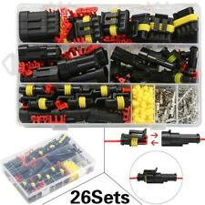 26 Kit 1/2/3/4 Pin Way Car Auto Sealed Waterproof Electrical Wire Connector Plug