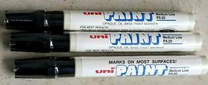 New 3 PACK UNI Paint  Valve Action Paint Markers-BLACK-63601-Medium line F. Ship
