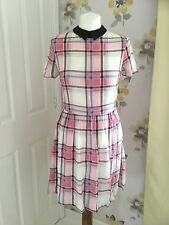 RIVER ISLAND PINK CHECKED SKATER DRESS WITH BLACK COLLAR – UK 8