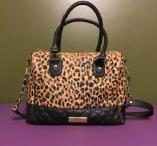 Betsey Johnson Faux Leather Quilted Leopard Print Shoulder Handbag Purse Tote