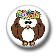 Hawaii Owl 1 Inch / 25mm Pin Button Badge Hula Paradise Cute Cartoon Kitsch Fun