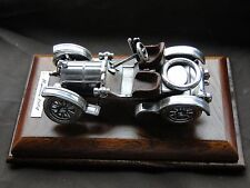 MINIATURE CAR, STERLING SILVER ITALIAN, ON A PLYMTH, 1950, GREAT DETAIL.