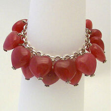Red Ruby Jade HEARTS Charm  Bracelet  Sterling Bali Beads & Clasp ~ Hand Made