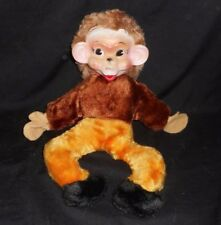 """13"""" VINTAGE RUBBER FACE MONKEY BROWN YELLOW PANTS STUFFED ANIMAL PLUSH TOY OLD"""