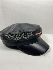 Women's Harley-Davidson Black Leather Cappy Hat Embroidered **Read Description*