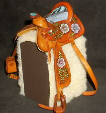 Dollhouse Mini Prestige Brown Turquoise Southwest Leather Horse Saddle 1:12 9049