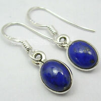 925 Sterling Silver Rare NAVY BLUE LAPIS LAZULI FRENCH HOOK New Earrings 1 Inch
