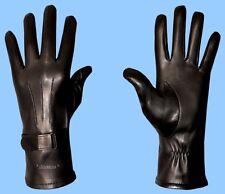 NEW MENS size 11 BLACK LAMBSKIN LEATHER GLOVES-WRIST EXPANSION-BELT-SILK LINED