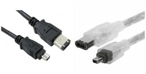 Firewire IEEE-1394 DV Cable 4 to 6 pin - DV Out to PC Laptop I-Link Camcorder