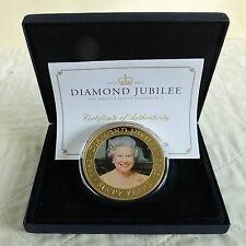 Islas Cook 2012 Jubileo de Diamante 65mm $5 Retrato De Color Oro Plateado Prueba