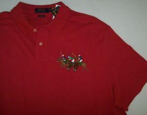 NWT Polo Ralph Lauren Red TRIPLE-PONY MATCH PLAY Classic Fit Shirt Men XXL 2XL