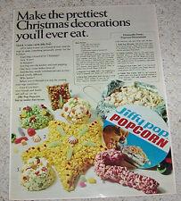 1968 ad page - Jiffy Pop Popcorn - Christmas pop corn ball recipes Print ADVERT