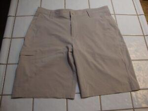 Columbia Hybrid Hiking Shorts Stone White Poly Spandex 5 Pockets 10L Mens 36