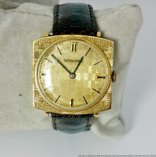 Vintage 14K Gold Longines Mens Watch Circa 1950s w/ Cross Hatch Dial and Case
