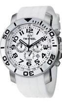 Tw Steel reloj de hombre TW95 Blanco Cronógrafo grandeza Dial Blanco Correa De Caucho