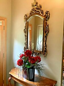"""VINTAGE 52"""" FRENCH REGENCY ROCCOCO ORNATE SCROLL GOLD WALL MIRROR- PICKUP ONLY"""