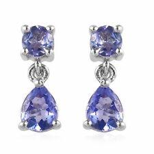 Platino sobre plata esterlina 925 Azul Tanzanita Colgantes Pendientes para Mujeres
