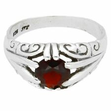 Sterling Silver Garnet Gypsy Signet Ring (Size Y) 8mm Head