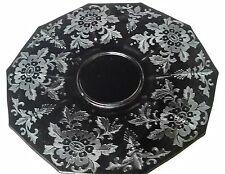 "Cambridge Black Glass EBONY DECAGON Etched ""LORNA"" 10 1/2"" Plate"