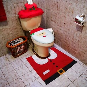 3-Piece Snowman Santa Toilet Seat Cover and Rug Set Red Christmas Decorations