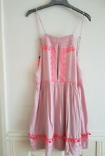 River Island Pink Square Neck Embroidered Cami Beach Dress BNWT Size M