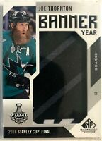 2016-17 Joe Thornton SP Game Used Banner Year Stanley Cup #BSC-TH 2016 Sharks