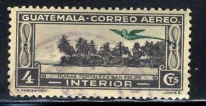 1935 Guatemala 🦜Quetzal Airmail SC#C34 AP10  Ruins of Fort San Felipe Stamp