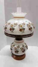 """Vintage Gone With The Wind Multi-Color Floral 3 Way 28"""" Hurricane Parlor Lamp"""